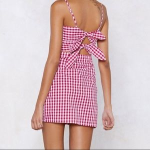 NastyGal Red Gingham Dress